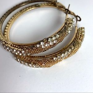 Jewelry - Vintage Hoop Faux Diamond Earrings